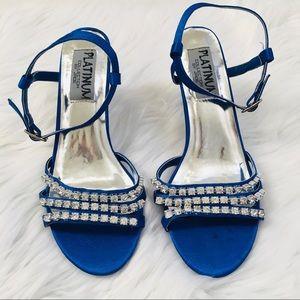 New! Rhinestone French Blue Sexy Heels Sz 6.5